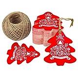 100 Kraft Paper Tag,etichette per regali natalizi,Etichetta bagaglio, etichette a forma di Natale da appendere, con 30 Metri Iuta Spago per Bomboniere e Artigianato fai-da-te
