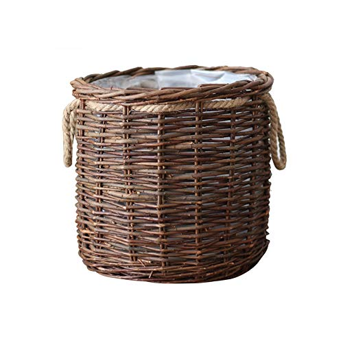 Jren-zk Hand-woven Flower Pots, Wicker Weaving Flower Basket Flower Pot Cafe Restaurant Entrance Flower Pot, With Internal Waterproof Membrane (Color : Brown, Size : 30.5 * 30.5 * 29.5CM)