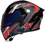 Motorbike Helmet Casco Bluetooth de cara completa para motocicleta, casco modular abatible para motocicleta, casco integrado de carreras de motocross, certificación DOT / ECE con visera doble para ho