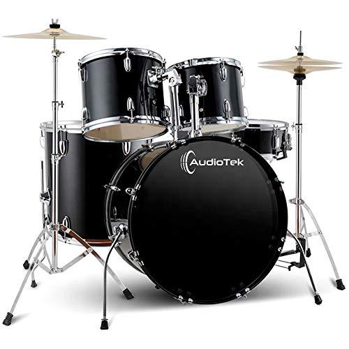 Pro System Audiotek Bateria Acustica Musical Musica Profesional 5 Piezas Tambor 2 platillos Drum Set Bateria Acustica Bateria Musical Negra Bateria Baterista