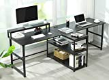 Sedeta 94.5 inches Two Person Desk, Double Computer Desk with Storage Shelves, Extra Long Workstation Desk with Monitor Stand, Power Strip with USB, Study Writing Desk for Home Office, Black