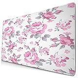 tappetino per mouse carino,shabby flora rose rosa con foglie grigie pian, tappetino per mouse rettangolare in gomma antiscivolo per desktop, tappetino per scrivania da gioco, 15,8 x 29,5 pollici