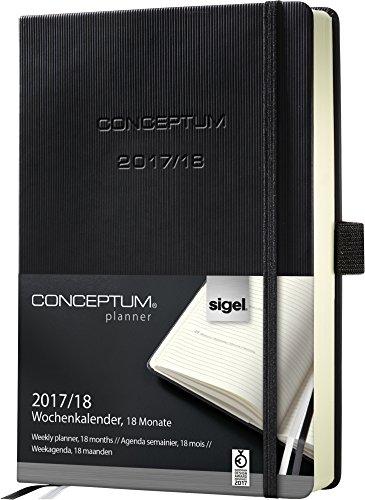 Sigel C1801 Wochenkalender 2017/2018, 18 Monate, ca. A5, schwarz, CONCEPTUM - auch in A6