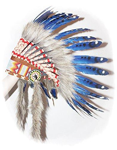 Hejoka NEU Indianer Federhaube BLAU Federschmuck Kopfschmuck für FOTOSHOOTING Fasching Karneval