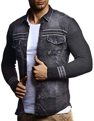 Leif Nelson Giacca di Jeans Uomo Maniche Lunghe a Maglia LN-3555 Nero Large