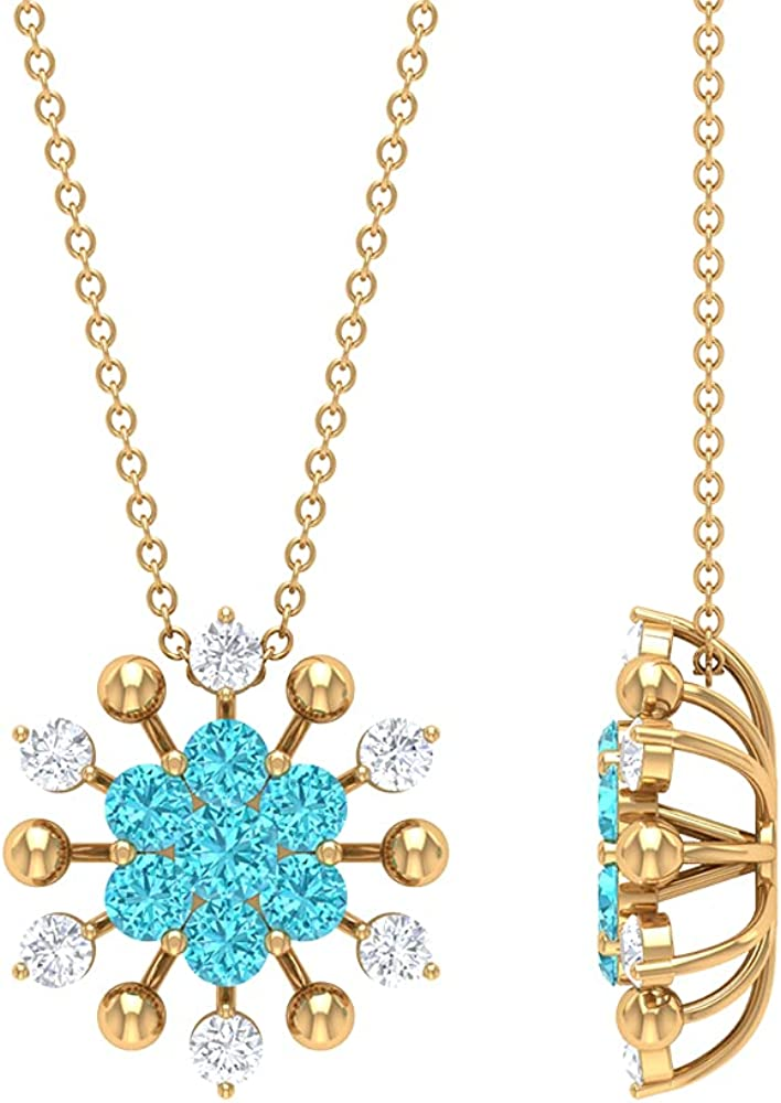 Price reduction 1.25 CT Swiss Blue Max 77% OFF Topaz and Pendant Floral Neck Diamond Cluster