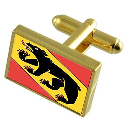 Select Gifts Stadt Bern Schweiz Gold Manschettenknöpfe graviert Box