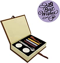 Wax Seal Stamp Kit, Retro Classic Vintage Seal Wax Stamp Seal Maker Stick Gift Box Set for Chritmas Weding Birthday Invitation (Best Wishes)