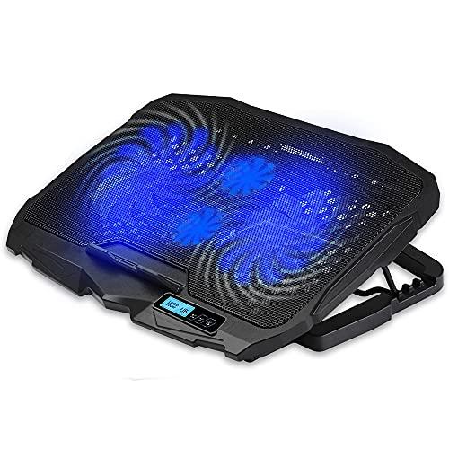 Feicuan Gaming Laptop Cooling Pad 10-15.6 Pulgadas Cooler, Base de Refrigeracion Portatil Ventilador con Soporte luz LED Azul, 4 Ventiladores silenciosos y Pantalla LCD 2 Puertos USB