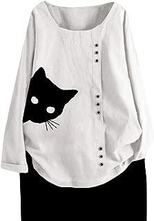 Londony❀♪ Women's Long Sleeve Cotton Linen Jacquard Blouses Top T-Shirt Linen Retro Chinese Frog Button Tops Blouse