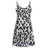 VEMOW Vestido de Tirantes hasta la Rodilla con Estampado de Leopardo para Mujer Fiesta de Fiesta con Cuello en V para Mujer Falda(Blanco,L)