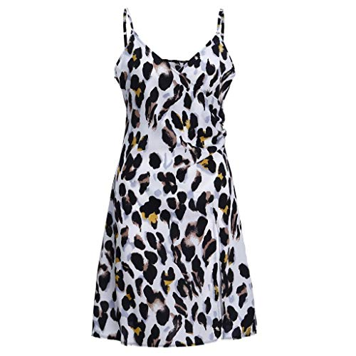 VEMOW Vestido Tirantes hasta Rodilla Estampado Leopardo