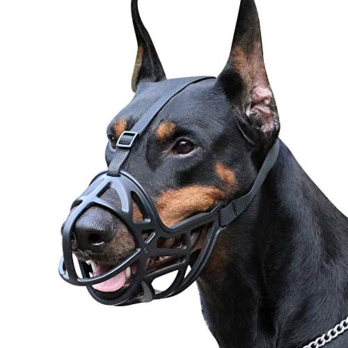 Mayerzon Dog Muzzle, Breathable Basket Muzzle to Prevent Barking, Biting and Chewing, Humane Muzzle for Small, Medium, Large and X-Large Dogs (XL, Black)
