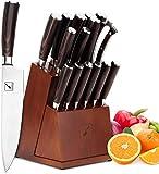 Knife Set, imarku 16-piece Kitchen Knife Sets with Block Wooden, Manual Sharpening for Chef Knife...