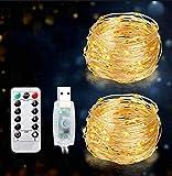 Brisun® - Cadena de luces LED de 15 m, 2 unidades, 150 ledes, USB, 8 modos, luz de ambiente, para habitaciones, interiores, exteriores, Navidad, fiestas, bodas, DIY, etc., blanco cálido