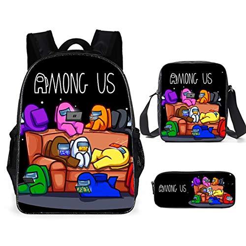 Mochila de anime de dibujos animados, juego de 3 piezas para niños y niñas (mochila escolar, bandolera, estuche para lápices), elegante bolsa de viaje multifuncional, mochila, adecuada para estudiante