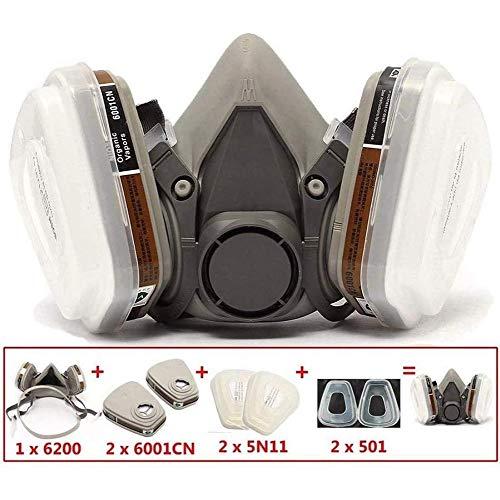 WLHER 6200 Staubschutzmaske, Chemikalien-Atemschutzmaske, Atemschutzmaske Schutzstufe FFP2 Mit Doppelfilter Patronen Halbmaske Zum Schutz Der Augen Vor Staub