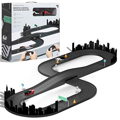 Sharper Image Remote Control Sport Italia Race Set, RC Cars with 32-Piece Customizable Track and Accessories, LED Lights, 1:50 Scale, Full Wireless Controllers