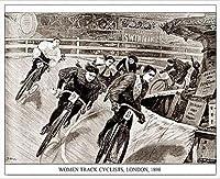 ポスター アーティスト不明 Women Track Cyclists 1898 額装品 アルミ製ハイグレードフレーム(ホワイト)