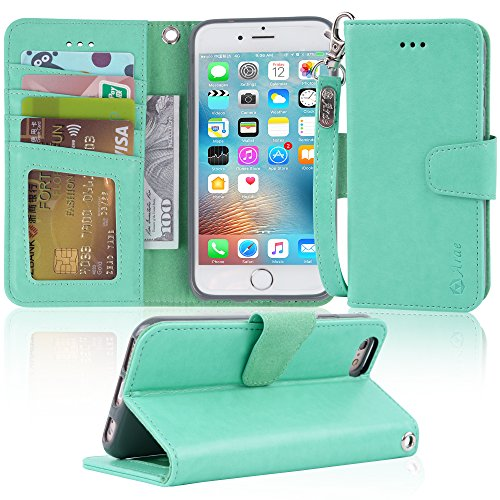Arae Case for iPhone 6s / iPhone 6, Premium PU Leather Wallet case [Wrist Strap] Flip Folio [Kickstand Feature] with ID&Credit Card Pockets for iPhone 6s / 6 4.7 inch (Green)