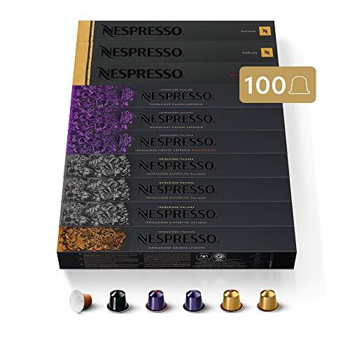 NESPRESSO CAPSULE ORIGINALI - Selezione Balanced con Caffè Decaffeinato,100 capsule di caffè Linea Original, Riciclabili
