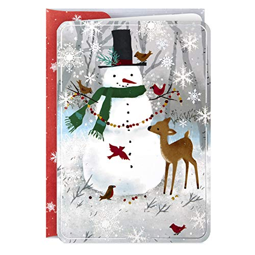 Hallmark Boxed Holiday Cards, Snowman and Reindeer (16 Cards with 17 Designed Envelopes)
