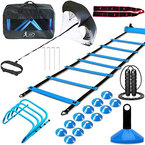 MLCINI Speed Agility Training Set Includes 1 Resistance Parachute 1 Agility Ladder 4 Steel Stakes product image