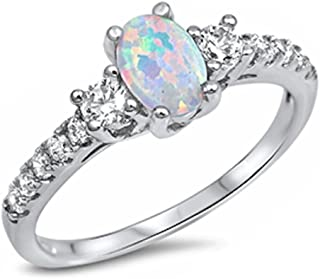 Oval Lab Created White Opal & White Cz Fashion .925 Sterling Silver Ring Sizes 3-13 SRO16887