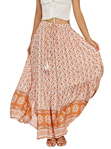 BerryGo Women's Boho Floral Ruffle Maxi Skirt High Waist Long Skirt with Slit Beige-L