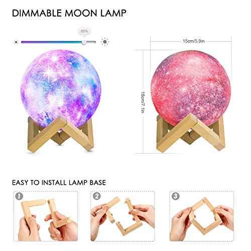 HOKEKI 3D Moon Lamp, Baby Small Night Light, Star Airlight, 16 LED Lighting Colors, Dimmable Lamp with Wood Stand, Touch & Remote Control & USB Rechargeable, for Girls Lover Christmas Gift (5.9in)