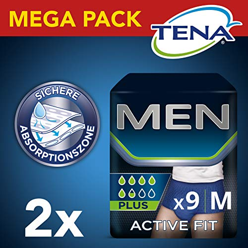 Tena Men Active Fit Pants Plus, Größe M, 2er Pack(2 x 2 Stück)