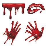 Halloween Bloody Handprint Decal, Vampire Bloody Lips with Sharp Teeth Sticker, Screaming Bloody Decal for Windows, Car, Bumper Decor Halloween Home Wall Art