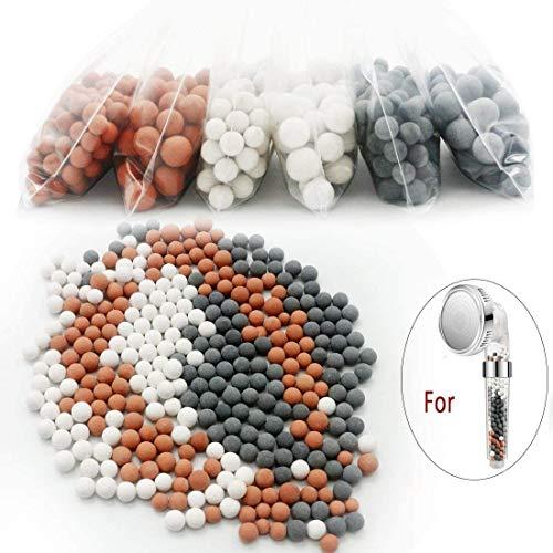 Ionische douchekop en slangset met vervangende filterballen (6 pak), 3 modi verstelbare douchekop handheld boosting waterdruk Ballen