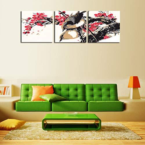 GYSS 3 panelen 3 sets canvas rode bloemen met vogels schilderen HD beeld Home Decoratie op canvas Modern kunstwerk