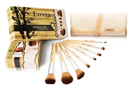 Luvia Cosmetics – Bamboo's Leaf - Make-Up Pinsel Set aus nachhaltigem Bambus mit 8 Pinseln und praktischer Aufbewahrungstasche aus Leinen – Echtes Taklon Haar - Vegan und für Tierhaarallergiker geeignet
