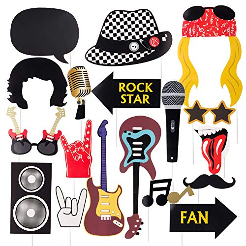 Rock Star Party Photo Booth Props Western Society Culture Jazz Music Rock and Roll Party Decorations Accessories 18 Pieces SUNBEAUTY