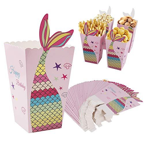 Cajas de Palomitas de Maíz de Sirena Palomitas Bolsa Contenedores de Caramelos de Cartón Caja de Pop Corn Box para Carnaval Película Suministro de Fiesta de Cumpleaños 24 Piezas