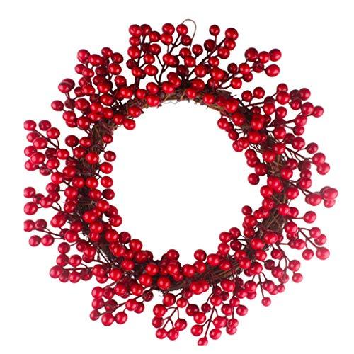 suoryisrty Ornamenti Natalizi 1 Pezzo Jungle Party Berry Decoration Wreath Ghirlanda di Frutta Rossa Porta da Parete 40cm