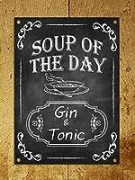 チョークレトロスタイルスープの日ジントニックキッチンティンサイン