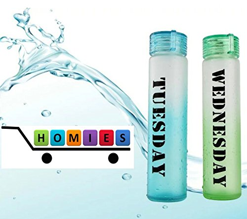 1 Piece HOMIES Brand (Registered), Slim Small cute Week day name frost bottle Clear translucent water bottle, carafe, juice storage, milk bottle, serve ware , container, fridge bottle, jug, Pitcher stylish decanter lid water pitcher barley tea pot tea Put cold water tube glass pot 290ml light and durable glass Water Carafe mini little size Clear (TUESDAY)(SIZE: 50mm * height: 290mm)