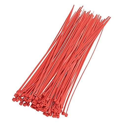 Ying - Confezione da 100 fascette in plastica con chiusura lampo lunga e resistente, con resistenza alla trazione di 18 kg, autobloccanti in nylon, per ufficio, casa ed esterni, colore: rosso