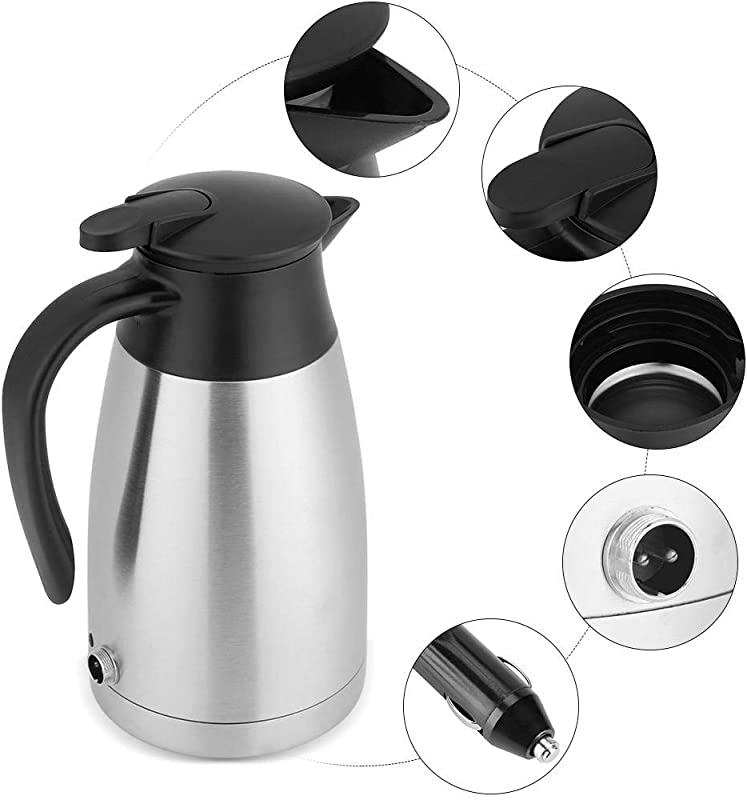 12v Electric Car Kettle 1000ml Stainless Steel Car Automobile Electric Heating Kettle DC 12V Cigarette Lighter Portable Electric Kettle Pot Heated Water Cup For Hot Water Coffee Tea