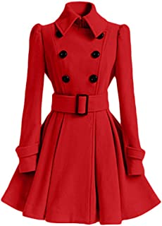 🍒 Spring Color 🍒 Women's Classic Double Breasted Wool Coat with Belt Buckle Spring Dresses Outwear Pea Coat