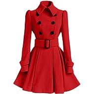 Birdfly Winter Warm Women Woolen Coat Pleated Skirt Parka Jacket Belt Overcoat Outwear Black