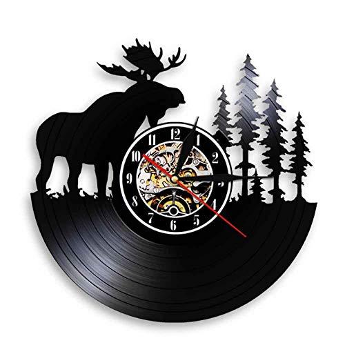 Woodland Animal Colgante de Pared Reloj de Arte Woodland astas Bosque elk King con Pino Disco de Vinilo Reloj de Pared guardería decoración de la habitación del bebé Sin LED