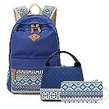 Escuela Primaria Impreso Bolsa de Mano del Bolso del Almuerzo de 3 Piezas 30x14x45cm Travel Set Computer Bag (Color : Blue)