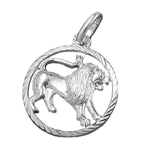 Anhänger 15 mm 925 Silber Sternzeichen Löwe inkl. kleiner Schmuckbox Unisex Kettenanhänger Silberanhänger für Halskette