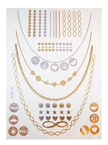 Sheet of Black Silver and Gold Metallic Flash Temporary Tattoos - SD-8819 by Pritties Accessories