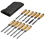 ECD Germany Set 12 piezas Cincel Tallado para madera Esculturas en madera Juego de Herramientas de acero para tallado en madera Longitud 200 mm Longitud Mango 90 mm