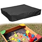 COOSOO Sandbox Cover Waterproof with Drawstring Sandbox Protective Square with Elastic Dust Protection for Sandpit Pool Toys Indoor Outdoor Garden Black